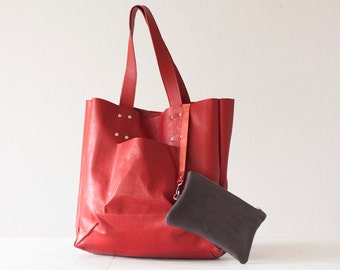 Red leather shopper bag, shoulder tote large bag women market tote - The Aella tote