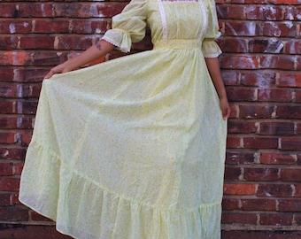 Vintage Yellow Floral Prairie Style Maxi Dress
