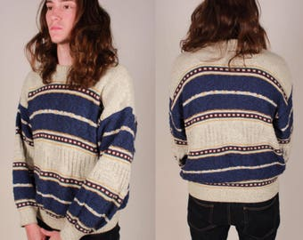 Vintage Horizontal Striped Knit Pullover Sweater