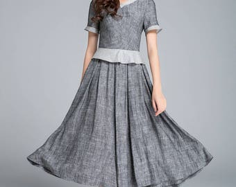 grey dress, linen dress, summer dress, retro dress, block color dress, pleated dress, elegant dress, womens dresses, plus size dress 1760