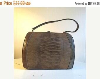 SALE Vintage Mad Men Brown Faux Lizard Skin Kelly Style Handbag