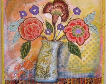 """Folk art flower collage mixed media painting 23"""" square"""