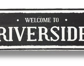 Riverside 6 x 23 rustic wooden sign by Go Jump in the Lake