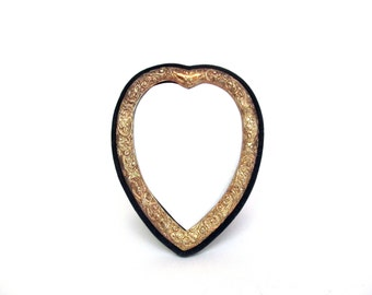 Vintage Silver Fancy Ornate Metallic Heart Frame, Blue Velvet Edge,  Valentines Day Gift or Decor