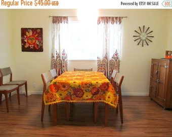 On Sale Vintage Big Floral Tablecloth with Pom Pom Edge Detail, Bright Colors, Oranges and Yellows