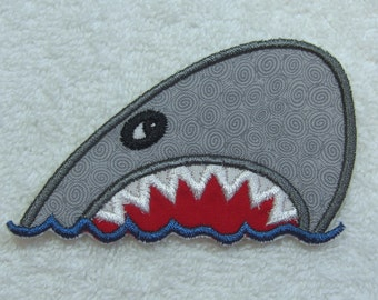 Shark Fabric Embroidered Iron On Applique Patch Ready to Ship