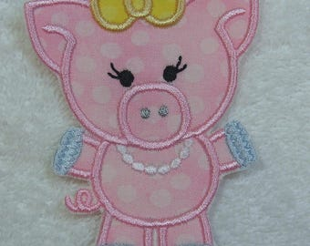 Girlie Pink Polka-Dot Pig Fabric Embroidered Iron On Applique Patch Ready to Ship