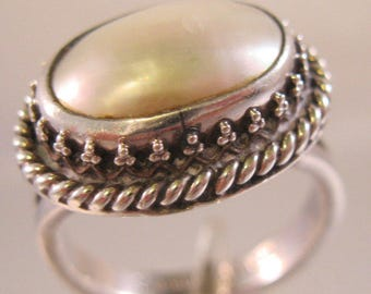 NAKAI Navajo Blister Pearl Sterling Silver Ring Size 7.5 Vintage Jewelry Jewellery