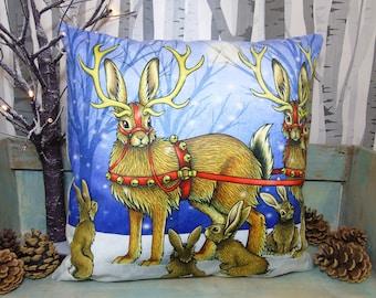 ON SALE Jackalope Sleigh Illustration Vegan Cushion Festive Throw Pillow - Faux Suede 45 x 45cm
