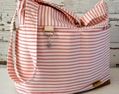 Digital Camera bag in Red Ticking Stripe, waterproof base -Lightweight and durable! by Darby Mack made in the USA