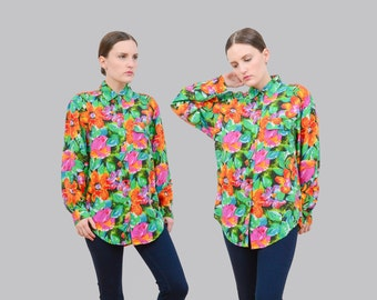 Vintage 90s Silk Blouse | Floral Blouse | Collared Button Down Shirt | Long Sleeve Blouse | 1990s Silk Top |  Bright Flower Print | Small S