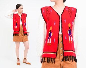 Vintage 70s Red Sweater Vest - Embroidered Native Southwestern Vest - Boho Hippie Fringe Vest - made in Ecuador - Small Medium S M