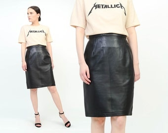 Vintage 80s Black Leather Skirt High Waisted Fitted Minimal Rocker Biker 1980s Wiggle Knee Length Pencil Skirt Small S US 6