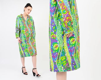 Vintage 60s Cotton Shirt Dress Psychedelic Print Long Sleeve Button Up Knee Length Mod Shift Dress Spring Summer Green Purple - size M L