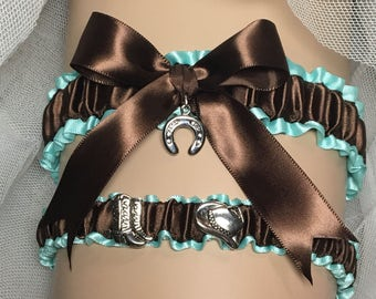 Country Western garter set in Aqua Blue Satin and brown satin OR brown velvet with lucky horseshoe charm. Toss garter included
