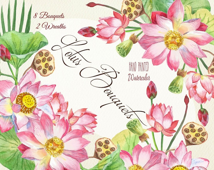 Lotus Flowers.Bouquets and Wreaths. Watercolor clip art, Lotus, watercolor, blossom, nature, botanical, pink, oriental, spa, relaxation
