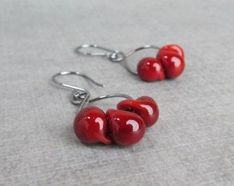 Blood Red Earrings, Dark Red Dangle Earrings, Red Lampwork Earrings, Wire Earrings, Red Beaded Earrings, Oxidized Earrings Sterling Silver