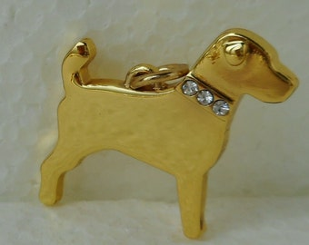 Jack Russell Terrier with Faux Diamante Collar Yellow Gold Plated Pendant