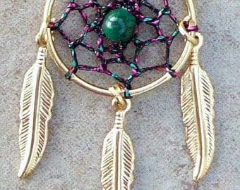 ON SALE SPIRIT Dreamcatcher necklace, Pink, Green and Gold Dreamcatcher necklace, smaller stone