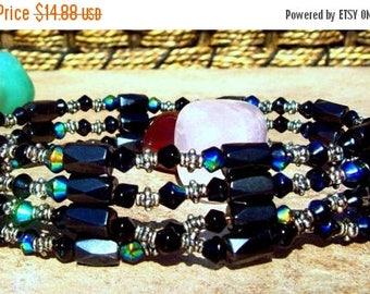 ON SALE BOHO Babe ll, Choker, Bracelet, Native American,beaded blue, silver, hematite necklace or bracelet, magnetic, tribal, bohemian, Boho