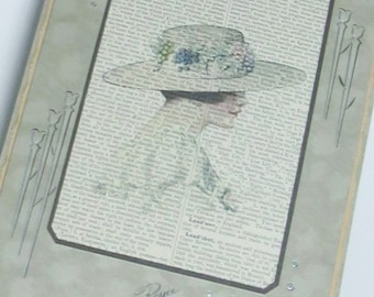 Antique standup photo folder card holder with antique page overprinted lady in hat