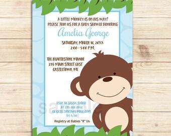 Blue Happy Monkey Boy Baby Shower Invitations, Printable File bs-084