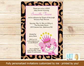 Queen of the Jungle TAN Cheetah Print Girl Baby Shower Invitations   Customized Print your Own Digital File