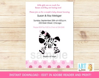 Pink Zebra Baby Girl Shower Invitations | Editable Text INSTANT DOWNLOAD Printable