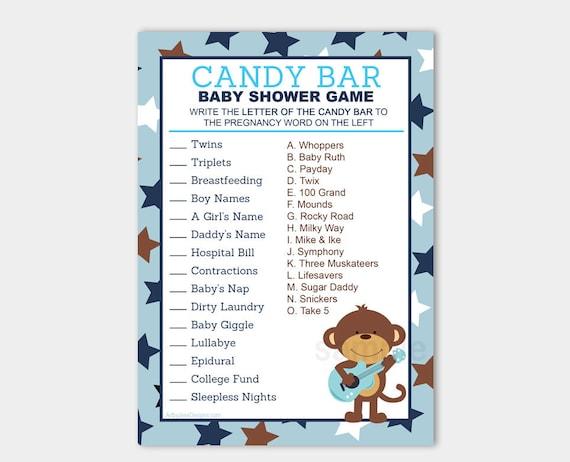 Rock Star Monkey Candy Bar Matching Baby Shower Game | Boy ...