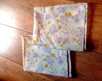 Vintage 1970's Blue Floral Pillowcases, Retro Bedding Pillowcases