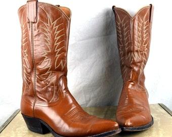 Vintage Nocona Brown Leather Cowboy Boots - Size 9 1/2 D