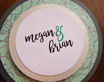 Unique Wedding Invitation SET/Teal Grey Wedding Invitation/Round Wedding Invitation/Bride and Groom/Green Wedding/Elegant Wedding