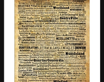 Montreal Map - Typography Neighborhoods of Montreal Poster Print Sepia
