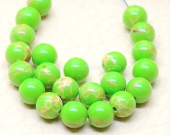 "U Pick Top Quality Natural Peridot Green Sea Sediment Jasper Gemstone Loose Beads 4mm 6mm 8mm 10mm Round Loose Beads 15.5"" #GX6"