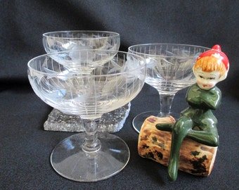 Vintage champagne bowl glasses coupe glass dessert dish cut glass rose pattern set of 3