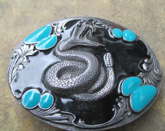 Siskiyou Belt Buckle Rattlesnake Cowboy attire, turquoise black enamel,  Rodeo belt buckle made in USA