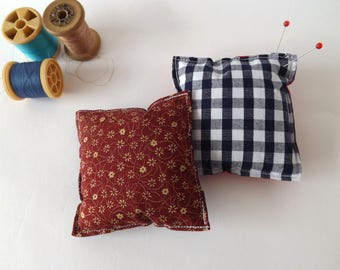 Recycled Fabric Swatch, Scrap and Offcut Pin Cushion with Eco Friendly Wadding, Gingham or Dark Red Prints