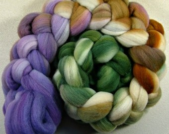 Olive/Brown/Violet 2 merino wool top for spinning and felting (4 ounces)