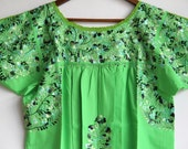 Multi colored on Lime Embrodery Mexican Wedding Dress