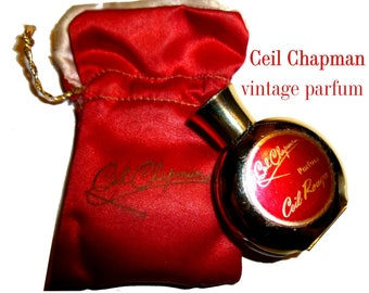Ceil Chapman. Vintage Perfume. Ceil Rouge Parfum. Red Pouch and Half Full Bottle. Vintage 1960s.