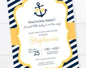 Nautical Anchor Baby Shower, Nautical Invitation, Nautical Baby Shower, Nautical Stripes, Navy and Yellow,  DIGITAL PRINTABLE FILE