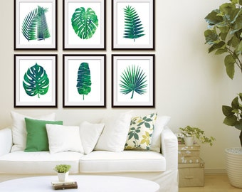 Island Impressions Palm Art (Series 6A) Set of 6 - Art Prints (Tropical Palm Botanical Art Decor)