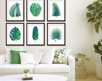 Island Impressions Palm Art (Series 6A) Set of 6 - Art Prints (Tropical Palm Botanical Art Decor)