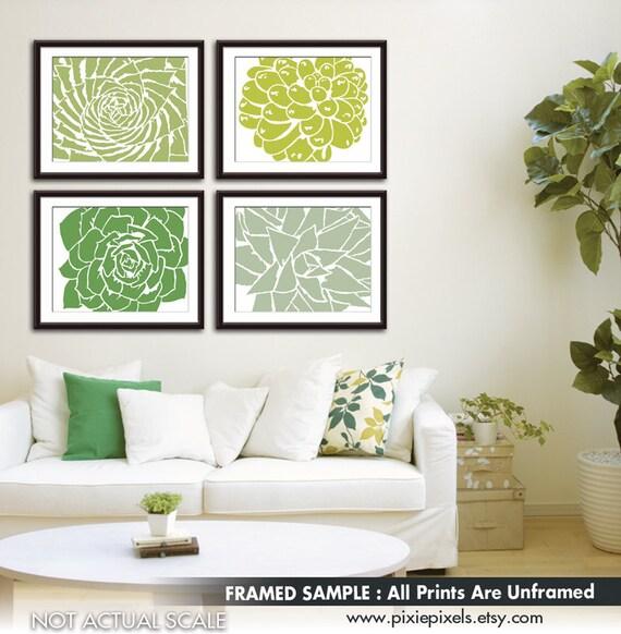 Modern Succulent Botanicals - Set of 4 - Art Prints (Featured in Basil, Chartruese, Clover and Veranda) Desert Rose Art Prints