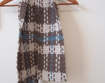 Plaid Crochet Scarf - Beige Brown Blue