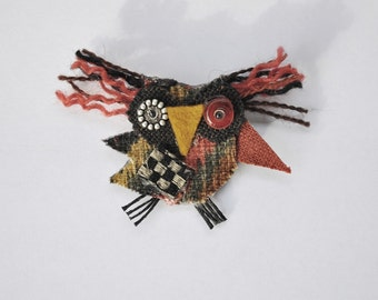 Margo the Owl Brooch, Recycled fabric, Woodland, Whimsical, Terracotta, Black, Bird, Repurposed Material