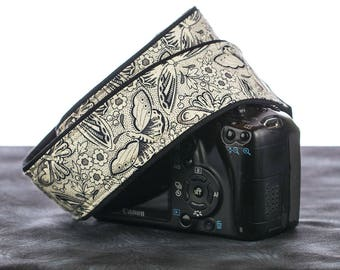 dSLR Camera Strap, Butterflies, Replacement Camera Strap, Pocket, SLR, Butterfly, Mirrorless, Quick Release, Camera Neck Strap, 025
