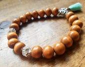 Boho bead bracelet with tassel, tassel bracelet, yoga bracelet, rhinestone bead bracelet, turquoise tassel bracelet, wooden bead bracelet