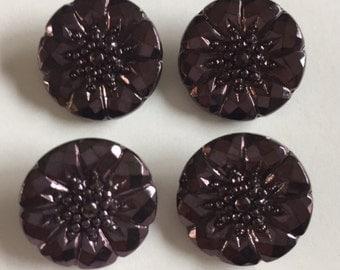 Vintage Czech Glass Buttons - 4 PLUM Metallic with Flower like Design