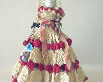 Christmas Ornament Art Doll Assemblage Frozen Charlotte Folk Art Doll